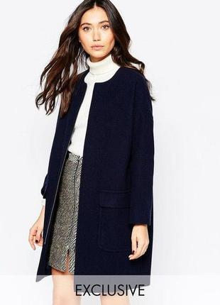 H&m шерстяное темно синее пальто на пуговицах прямое стильное ...