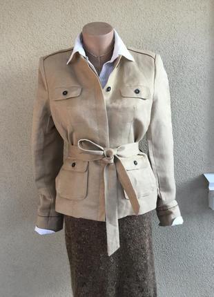 Жакет,пиджак под пояс,тренч,куртка,пальто,лен,детали кожа,laur...