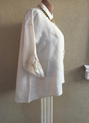 Комбинированная льняная блуза,рубаха с удлиненной спинкой,100%...