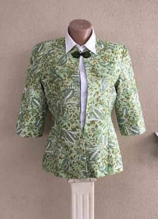 Красивый,шелковый жакет,пиджак,короткий рукав,цветочный принт,...