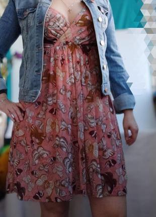 Легкое платье с бабочками h&m