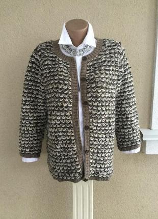 Красивый вязаный,букле кардиган,кофта,жакет,пиджак с золотой л...