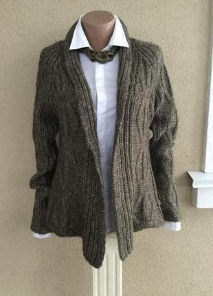 Шерсть(альпака)кардиган в косы,кофта,жакет,пиджак вязаный без ...