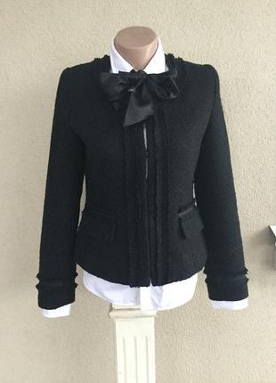 Чёрный,букле,твидовый жакет,пиджак,офисный с бахромой в стиле ...