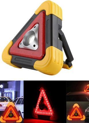 Аварийный знак прожектор hb-6609-cob+led(stop), солн. бат.