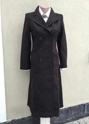 Винтаж,красивое,коричневое пальто по фигуре,шерсть,швейцария,э...