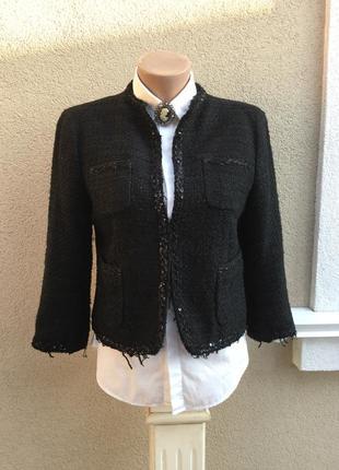 Чёрный,твидовый жакет,пиджак с бахромой,пайетки,стиль шанель,о...