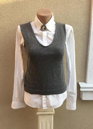 Тёплая,трикотаж майка,блуза,жилетка,кашемир 100%,италия,малень...