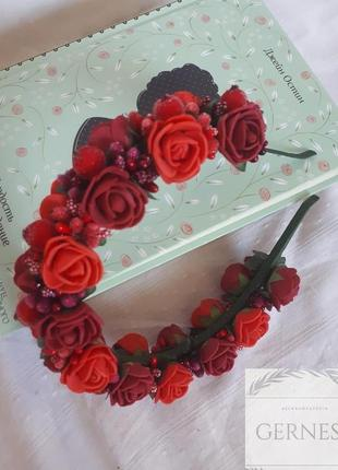 Обруч ободок веночек для волос с цветами