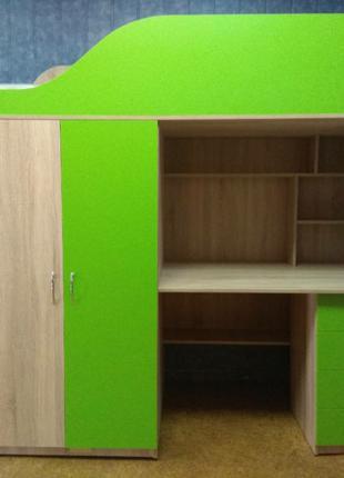 Детская кровать-чердак с рабочей зоной, шкафом и лестницей-комодо