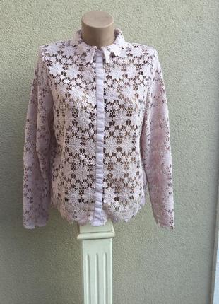Красивая блуза,рубашка из плотного кружева,гипюра ,большой размер