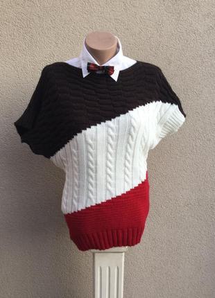 Тёплая кофта летучая мышь,,джемпер,свитер вязаный в косы,регла...