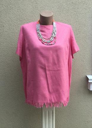 Эксклюзив,розовая блуза,бахрома,шерсть+шёлк,большой размер,alg...