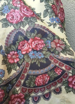 Тонкий, шелковый платок,косынка,шарф в цветочный принт,этно,де...