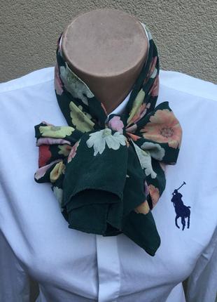 Шелковый шарф,платок,косынка в цветочный принт,