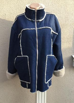 Мех,джинсовая куртка,пальто,дубленка,шуба объёмная,blue valley...