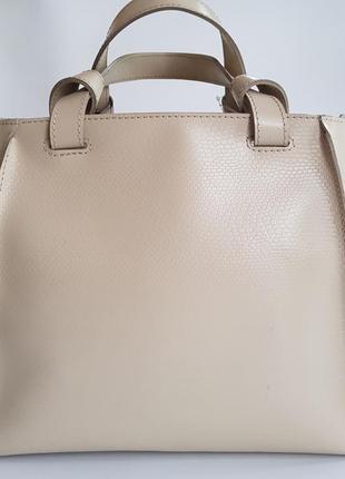 Большая женская сумка беж натуральная кожа