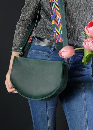 Сумочка фуксия винтажная натуральная кожа цвет зеленый