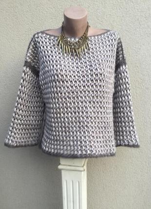 Ажурный свитер крупной вязки,кофта шерстяная