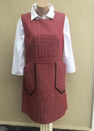 Сарафан,платье офисное,плотная ткань,кожаная окантовка,большой...