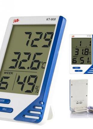 Термометр-гигрометр цифровой kt 908 (с часами, будильником, кален