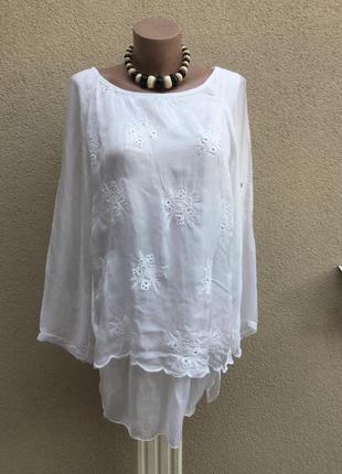 Белая,многослойная,шелковая блуза,туника с вышивкой