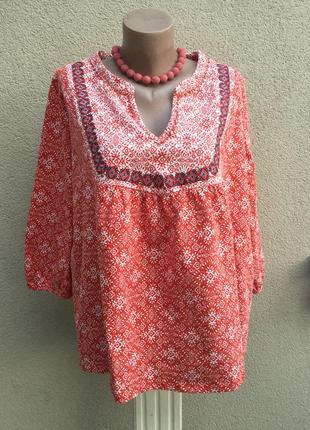 Блуза,рубаха трикотаж ткань,кофта этно,бохо стиль,вышивка,хлоп...