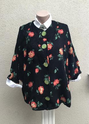 Эксклюзив,кардиган,жакет,пиджак из мягкого вельвета,цветочный ...