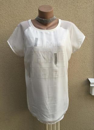 Белая,комбинированная футболка-реглан,блуза ,стразы,большой ра...