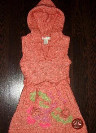 Детская шерстяная вязанная теплая махеровая кофта-платье diese...