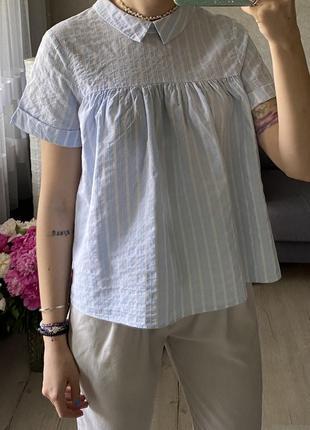 Хлопковая рубашка в полоску с красивой спинкой zara
