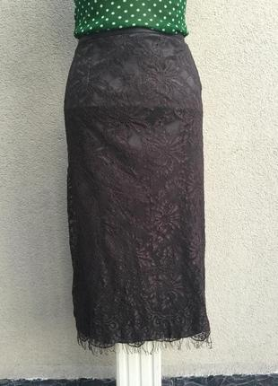 Коричневая юбка карандаш,кружевная,гипюровая,lucia