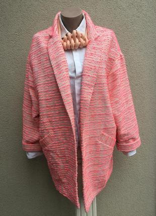 Легкое,розовое,букле пальто без застежки,жакет,пиджак,кардиган...