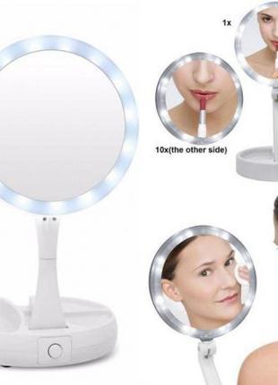 Зеркало с led подсветкой и увеличением для макияжа fold away