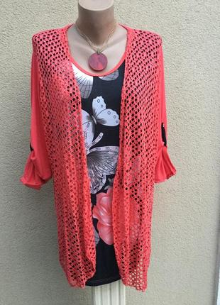 Комбинированная блуза-кардиган(сетка),кофта,вискоза,большой ра...