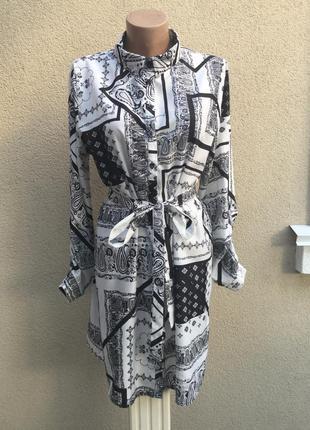 Легкое платье-рубашка под пояс,туника,блуза удлиненная,большой...