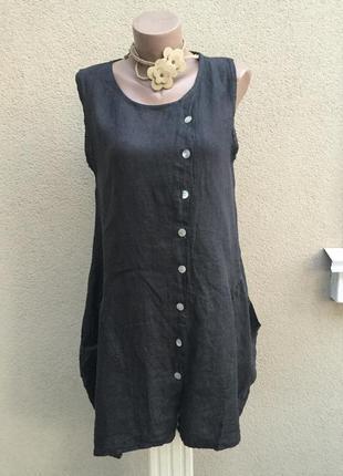 Льняной,ассиметричный сарафан с карманами,платье в этно,бохо с...