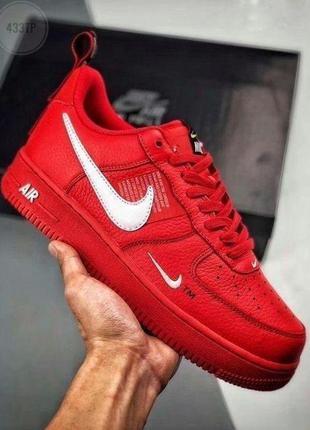 Nike air force 1 red utility красные мужские кроссовки наложен...