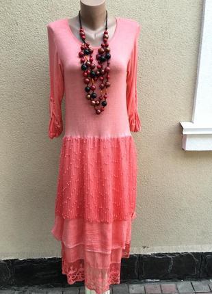 Розовое,комбинированное,многослойное платье,сетка,кружево,гипю...