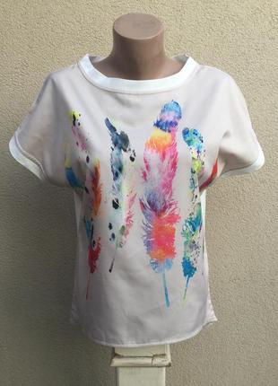 Легкая,удлиненная по спинке блуза,футболка,рубаха в принт,хлоп...