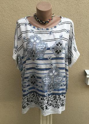 Легкая блуза,футболка-реглан,пайетки,большой размер,вискоза