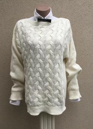 Вязанная в косы,ажурная,тёплая кофта,свитер,джемпер,италия