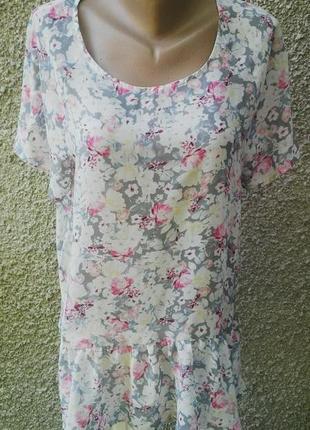 Блузка с баской большого размера в цветочный принт