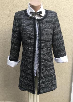 Твидовый,фактурный жакет,пиджак,кардиган,легкое пальто,стиль ш...