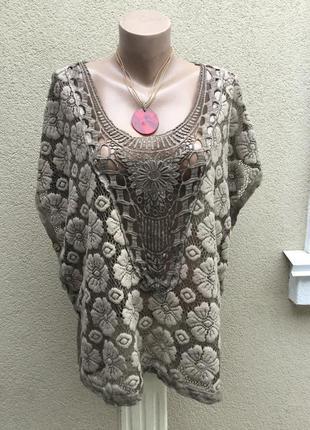 Вязанная,трикотаж блуза-пончо-жилетка,ажурная кофта с кружевом...
