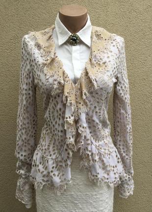 Ажурный,трикотаж кардиган,кофта,блуза с баской,рюши,оригинал,b...