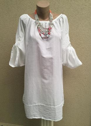 Легкая,белая блуза,рубаха реглан,большой размер,хлопок,этно,бо...