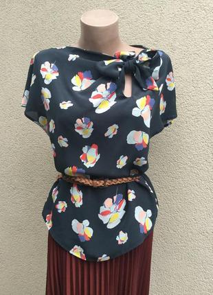 Шёлк,блуза реглан с бантом по вороту,рубашка в цветочный принт...