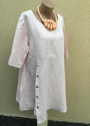Лен,розовое платье,туника,блуза,карманы,этно,бохо стиль,дизайн...