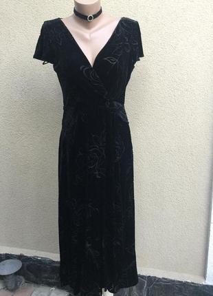 Чёрное,бархатное,велюровое,шёлк платье на запах,вечернее